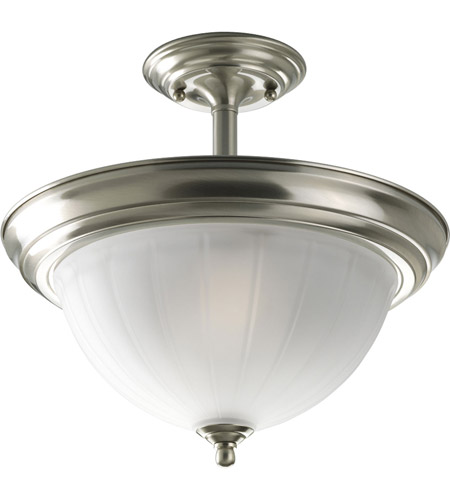 Progress Lighting Melon Glass 2 Light Semi-Flush Mount in Brushed Nickel P3876-09 photo