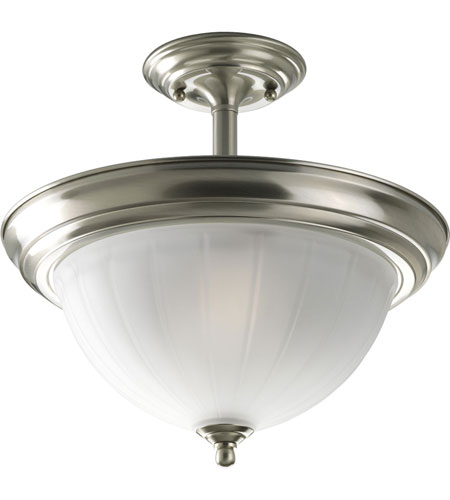 Progress Lighting Melon Glass 2 Light Semi-Flush Mount in Brushed Nickel P3876-09EBWB photo