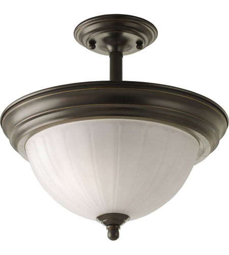 Progress Lighting Melon Glass 2 Light Semi-Flush Mount in Antique Bronze P3876-20 photo