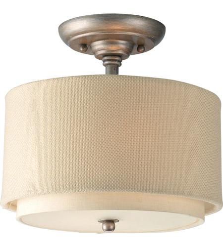 Ashbury 2 Light 10 Inch Silver Ridge Semi Flush Mount Ceiling Light