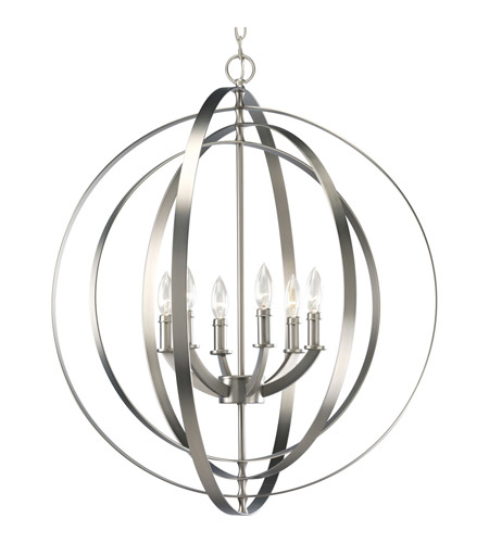 Progress P3889-126 Equinox 6 Light 28 inch Burnished Silver Hall & Foyer Ceiling Light photo