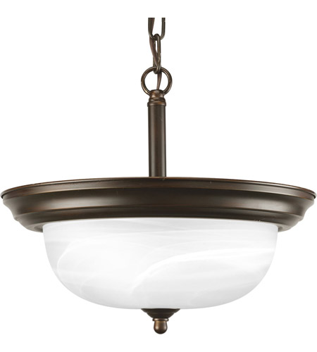 Progress Lighting Alabaster 2 Light Semi-Flush Mount in Antique Bronze P3927-20 photo