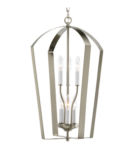 Progress P3929-09 Gather 6 Light 15 inch Brushed Nickel Hall & Foyer Ceiling Light photo