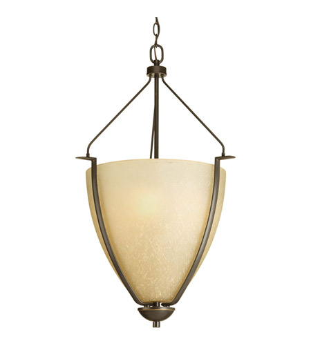Progress P3969-20 Bravo 3 Light 20 inch Antique Bronze Pendant Ceiling Light in Etched Umber Linen Glass photo