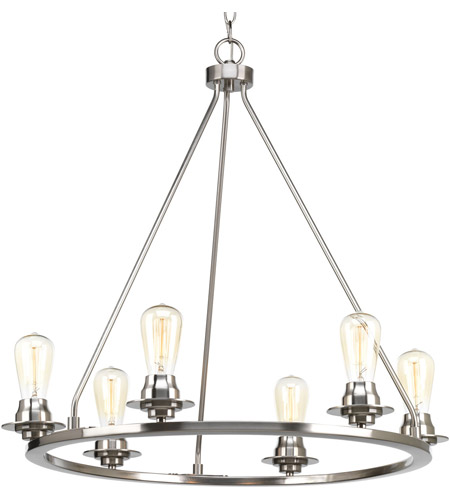 Progress P400015 009 Debut 6 Light 28 Inch Brushed Nickel Chandelier Ceiling Design Series