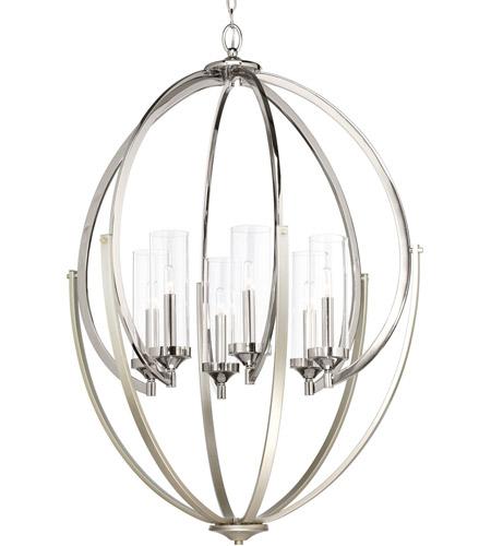 Evoke 6 Light 29 Inch Polished Nickel Chandelier Ceiling Design Series