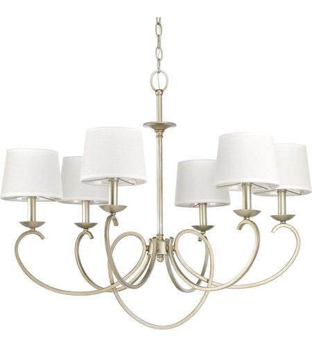 Progress P400075-134 Savor 6 Light 33 inch Silver Ridge Chandelier Ceiling Light, Design Series photo thumbnail