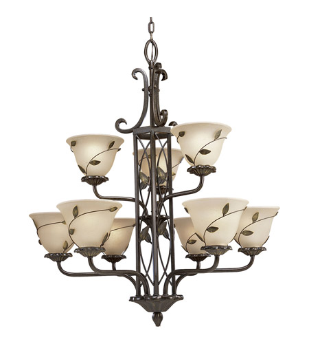 Progress P4024 77 Eden 9 Light 31 Inch Forged Bronze Chandelier Ceiling