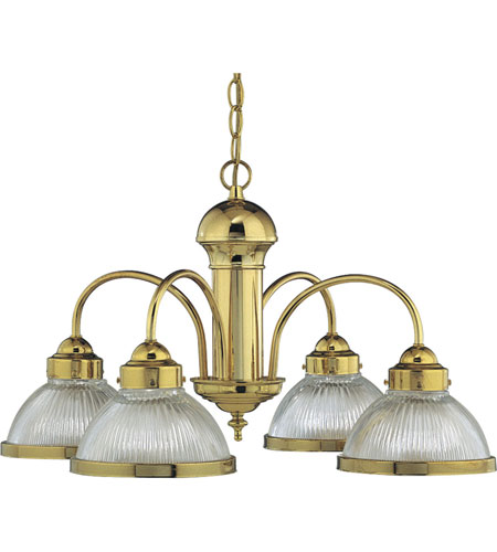 Progress P4095-10 Prismatic Glass 4 Light 23 inch Polished Brass Chandelier Ceiling Light photo