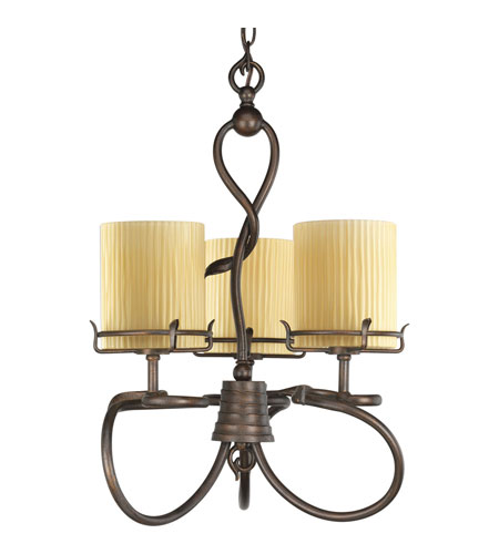 Progress P4131-114 Willow Creek 3 Light 19 inch Weathered Auburn Chandelier Ceiling Light photo