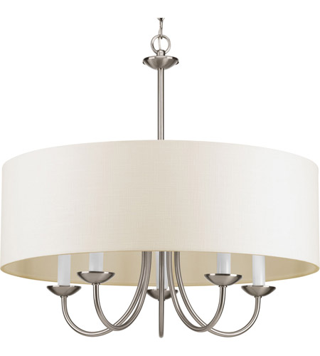 progress p421709 drum shade 5 light 22 inch brushed nickel drum chandelier ceiling light