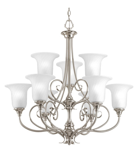 Progress Lighting Kensington 9 Light Chandelier in Brushed Nickel P4288-09 photo