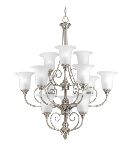 Progress P4314-09 Kensington 12 Light 34 inch Brushed Nickel Chandelier Ceiling Light in Swirl Etched Glass photo