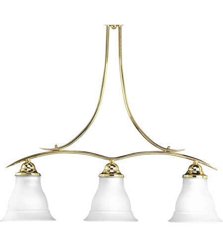 Progress Lighting Trinity 3 Light Chandelier in Polished Brass P4325-10 photo