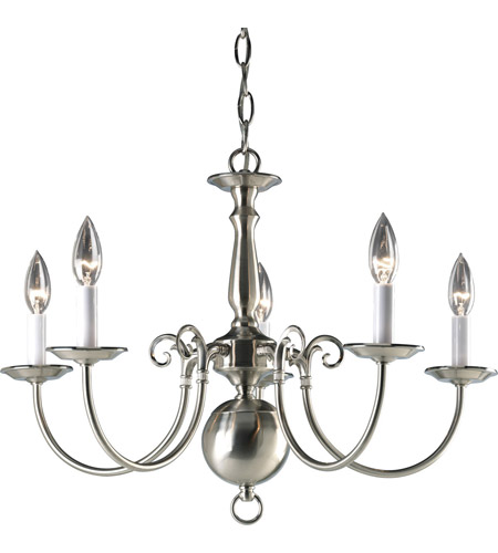 Progress P4346-09 Americana 5 Light 24 inch Brushed Nickel Chandelier Ceiling Light photo