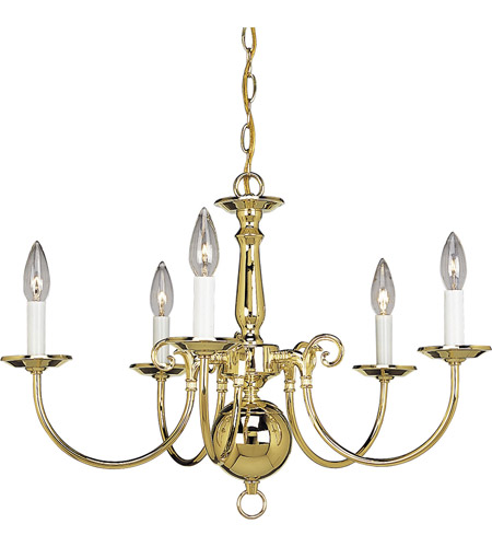 Progress P4346-10 Americana 5 Light 24 inch Polished Brass Chandelier Ceiling Light photo