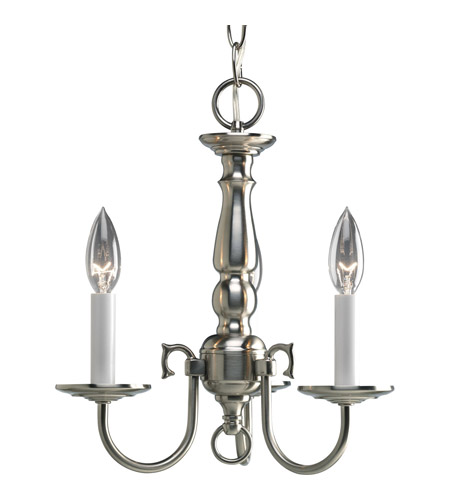Progress P4354-09 Americana 3 Light 13 inch Brushed Nickel Chandelier Ceiling Light photo