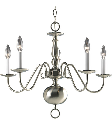 Progress P4355-09 Americana 5 Light 23 inch Brushed Nickel Chandelier Ceiling Light photo