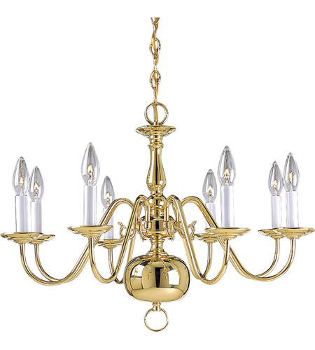 Progress P4357-10 Americana 8 Light 26 inch Polished Brass Chandelier Ceiling Light photo
