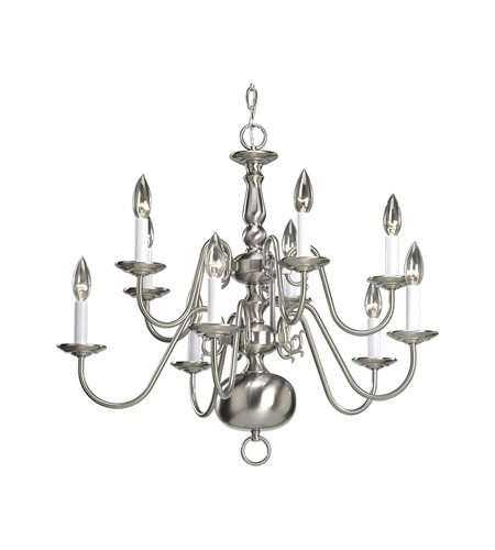 Progress P4358-09 Americana 10 Light 26 inch Brushed Nickel Chandelier Ceiling Light photo
