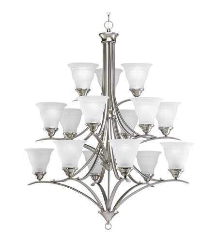 Progress P4365-09 Trinity 15 Light 41 inch Brushed Nickel Chandelier Ceiling Light in Bulbs Not Included, Standard photo