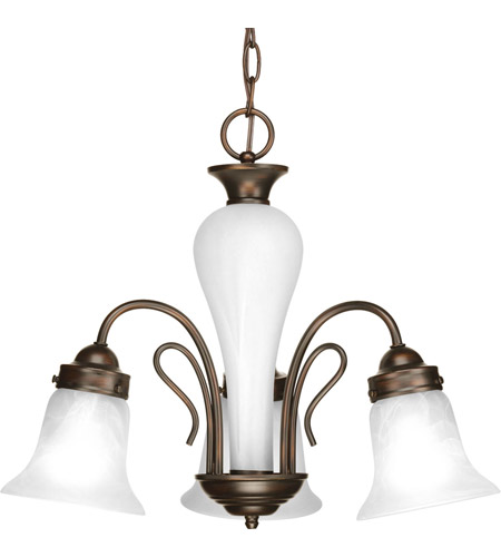 Progress P4390-20 Bedford 3 Light 20 inch Antique Bronze Chandelier Ceiling Light in Alabaster Glass photo