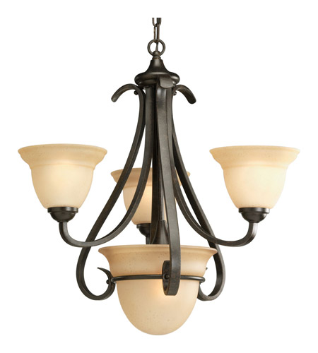 Progress P4415-77 Torino 3 Light 24 inch Forged Bronze Chandelier Ceiling Light in Tea-Stained photo