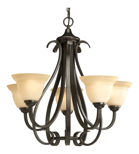 Progress P4416-77 Torino 5 Light 26 inch Forged Bronze Chandelier Ceiling Light in Tea-Stained photo