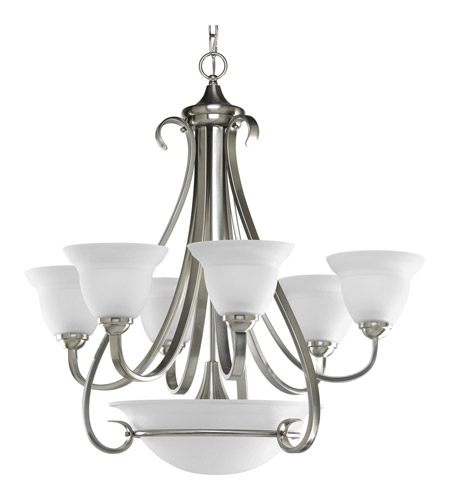 Progress P4417-09 Torino 6 Light 29 inch Brushed Nickel Chandelier Ceiling Light in Etched photo