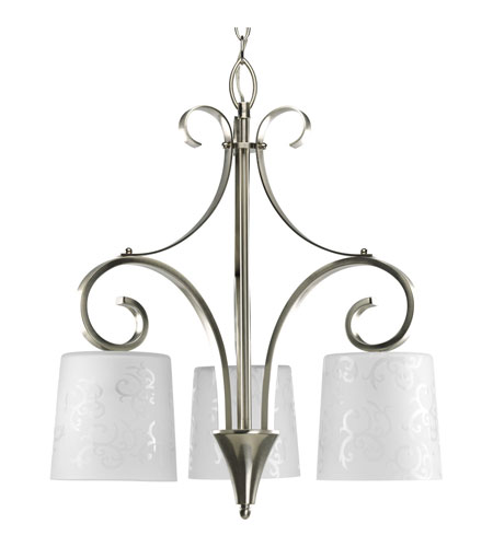Progress P4448-09 Nicollette 3 Light 21 inch Brushed Nickel Chandelier Ceiling Light photo
