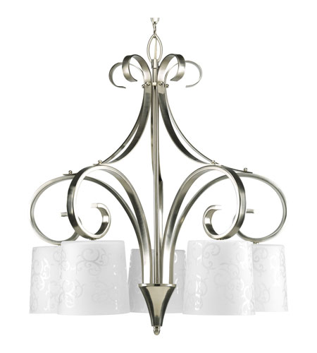 Progress Lighting Nicollette 5 Light Chandelier in Brushed Nickel P4453-09 photo