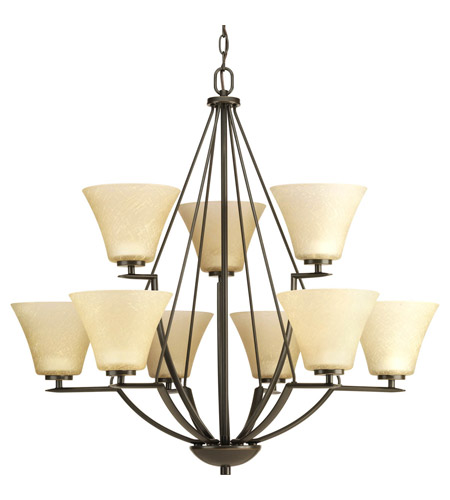 Progress P4625-20 Bravo 9 Light 32 inch Antique Bronze Chandelier Ceiling Light in Etched Umber Linen Glass photo