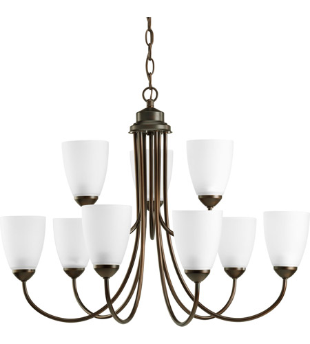 Progress P4627-20 Gather 9 Light 28 inch Antique Bronze Chandelier Ceiling Light in Bulbs Not Included, Standard photo