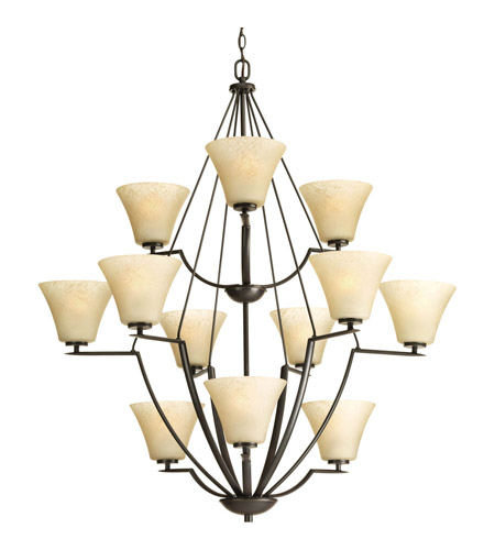 Progress P4687-20 Bravo 12 Light 38 inch Antique Bronze Chandelier Ceiling Light in Umber Linen photo