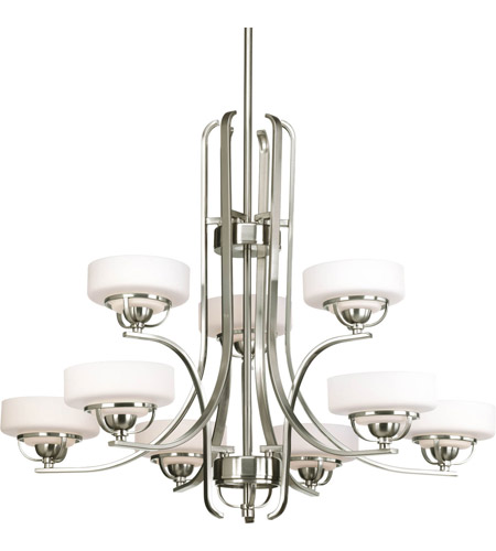 Progress Lighting Torque 9 Light Chandelier in Brushed Nickel P4693-09WB photo
