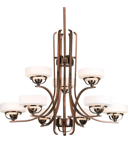 Progress Lighting Torque 9 Light Chandelier in Copper Bronze P4693-124WB photo