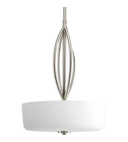 Progress P5004-09 Calven 3 Light 18 inch Brushed Nickel Pendant Ceiling Light in Etched Opal photo