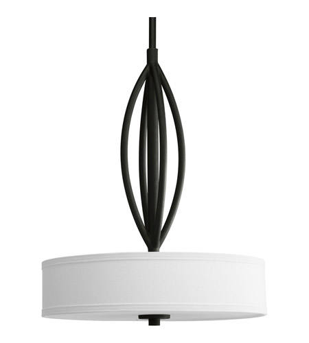 Progress P5004-80 Calven 3 Light 19 inch Forged Black Pendant Ceiling Light in Opal Linen photo