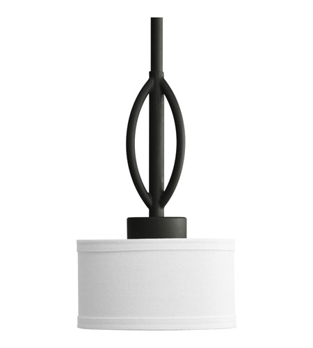 Progress P5118 80wb Calven 1 Light 6 Inch Forged Black Mini Pendant Ceiling In Opal Linen