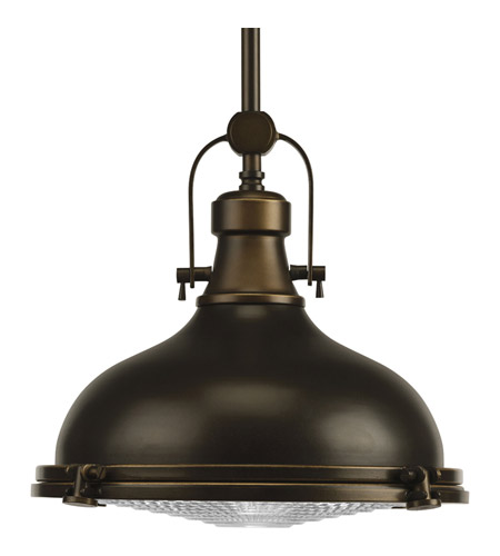 Progress P5188-108 Fresnel Lens 1 Light 12 inch Oil Rubbed Bronze Pendant Ceiling Light in Standard photo