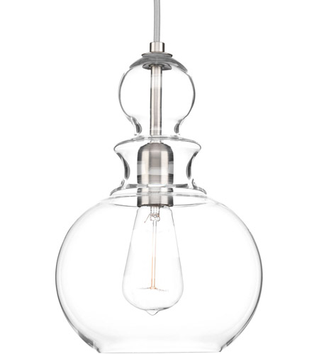 Progress p5334 09 staunton 1 light 9 inch brushed nickel pendant progress p5334 09 staunton 1 light 9 inch brushed nickel pendant ceiling light clear glass mozeypictures Image collections