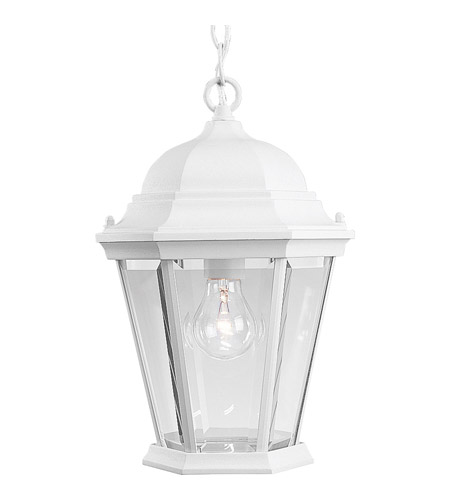 Progress P5582-30 Welbourne 1 Light 10 inch Textured White Outdoor Hanging Lantern in Clear Beveled, Standard photo