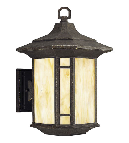 Progress P5629-46STR Arts and Crafts 1 Light 15 inch Weathered Bronze Outdoor Wall Lantern in Energy Star Rated photo