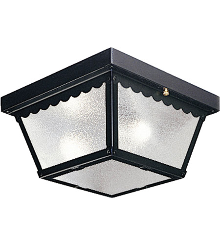 Progress P5729-31 Signature 2 Light 9 inch Black Outdoor Ceiling Lantern in White Glass photo