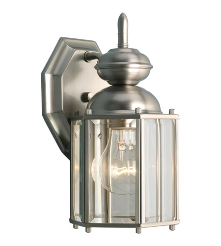 Progress P5756-09 BrassGUARD 1 Light 10 inch Brushed Nickel Outdoor Wall Lantern photo