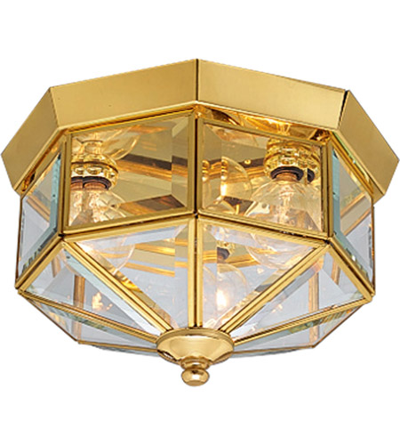 Beveled Gl 3 Light 10 Inch Polished Br Outdoor Ceiling Lantern
