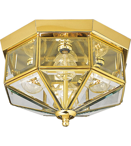Progress Lighting Beveled Glass 4 Light Outdoor Ceiling Lantern in Polished Brass P5789-10 photo