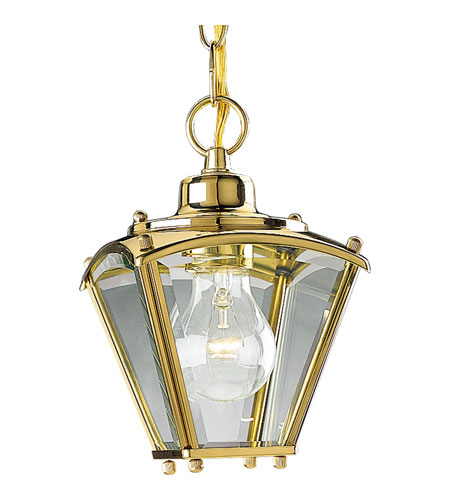 Progress Lighting Beveled Glass 1 Light Outdoor Ceiling in Polished Brass P5847-10 photo
