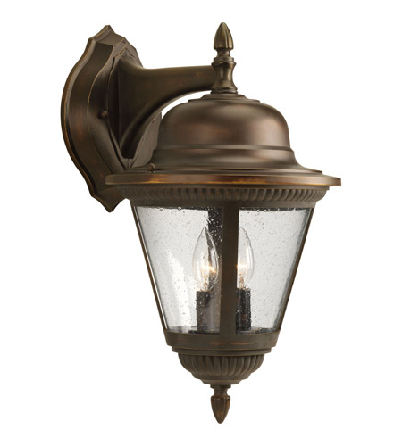 Progress P5864-20 Westport 2 Light 19 inch Antique Bronze Outdoor Wall Lantern in Bulbs Not Included, Clear Seeded photo
