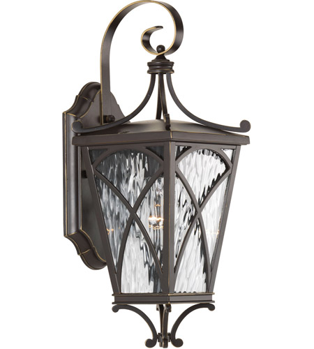 Progress P6080-108 Cadence 1 Light 16 inch Oil Rubbed Bronze Outdoor Wall Lantern in Clear Water, Small, Design Series photo